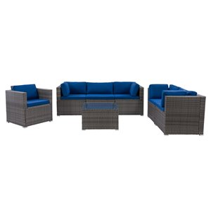 CorLiving Parksville Patio Sectional Set - Resin Wicker - Grey/Oxford Blue - 7-Piece