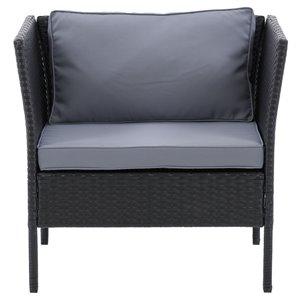 Fauteuil de patio Parksville de CorLiving, coussins gris cendrés, fini noir