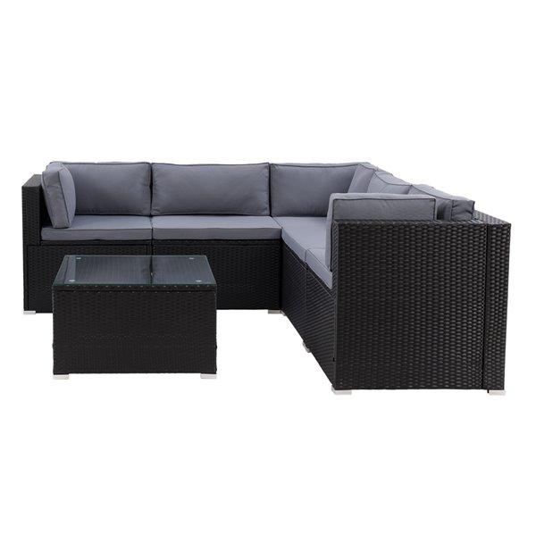 CorLiving Parksville Patio Sectional Set - Black/Ash Grey - 6-Piece
