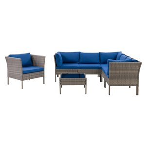 CorLiving Parksville Patio Sectional Set - Rattan wicker - Grey/Oxford Blue - 7-Piece