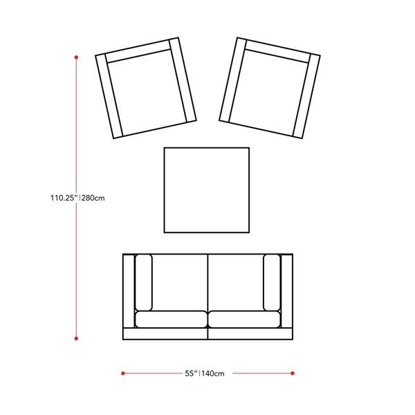 CorLiving Parksville Patio Sectional Set - Black/Ash Grey - 5-Piece