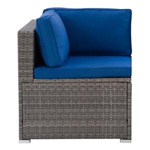 Fauteuil sectionnel en coin de patio Parksville de CorLiving, coussins bleus, fini gris