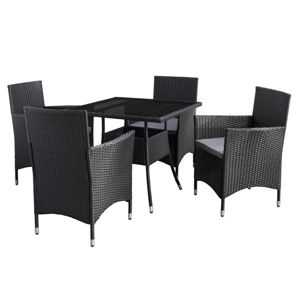 Corliving Parksville Square Patio, Woven Resin Wicker Outdoor Furniture