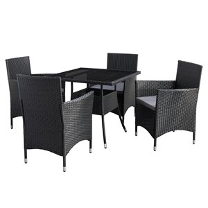 CorLiving Parksville Square Patio Dining Set - Resin Wicker Rattan - Black/Ash Grey - 5-Piece