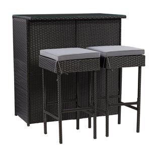 CorLiving Parksville Patio Bar Set - Resin Wicker - Blash/Ash Grey - 3-Piece