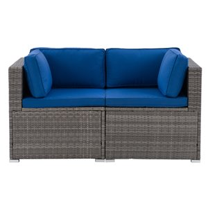 CorLiving Parksville Patio Sectional Set - Grey/Oxford Blue - 2-Piece