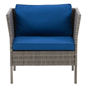 CorLiving Parksville Patio Arm Chair - Oxford Blue Cushions - Grey Frame
