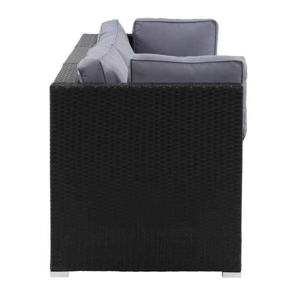 CorLiving Parksville Patio Sectional Set - Black/Ash Grey - 3-Piece