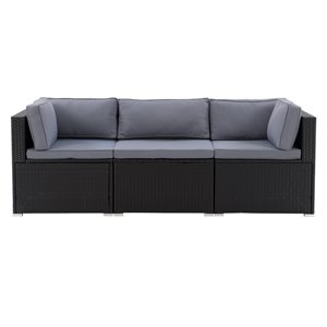 CorLiving Parksville Patio Sectional Set - Black/Ash Grey - 3-Piece
