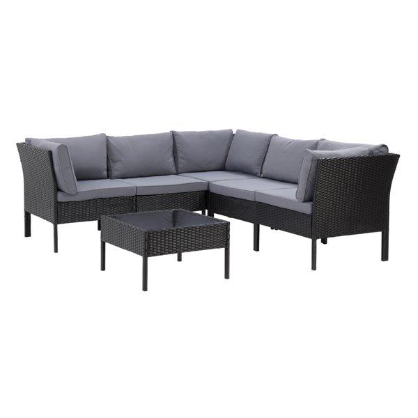 CorLiving Parksville Patio Sectional Set - Rattan Wicker - Black/Ash Grey - 6-Piece
