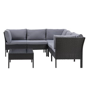 CorLiving Parksville Patio Sectional Set - Rattan Wicker - Black/Ash Grey - 6-Piece