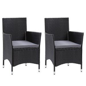 Ensemble de fauteuils de jardin Parksville de CorLiving, fini noir, 2 pièces
