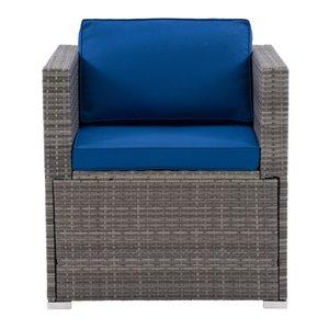 Fauteuil sectionnel de patio Parksville de CorLiving, coussins bleus, fini gris