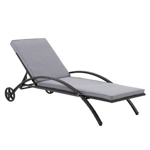 CorLiving Parksville Patio Lounge Chair  - Ash Grey Cushions - Black Frame