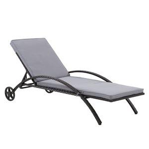 Chaise longue Parksville de CorLiving, coussins gris, fini noir