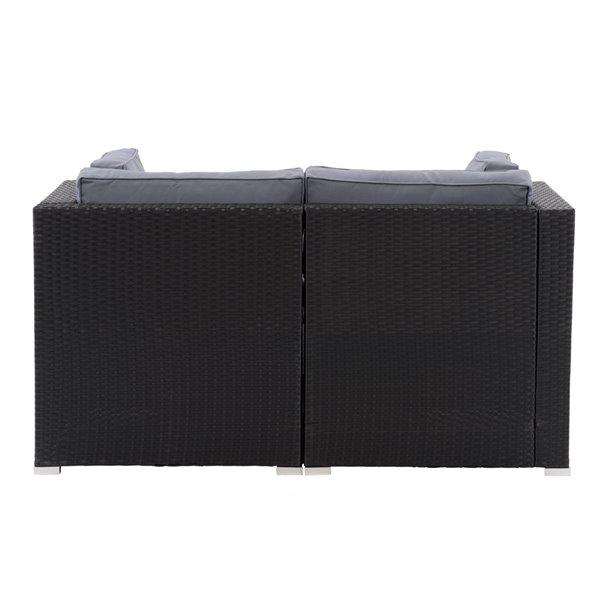 CorLiving Parksville Patio Sectional Set - Black/Ash Grey - 2-Piece