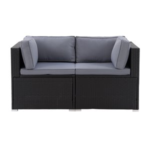 CorLiving Parksville Patio Sectional Set - Black/Ash Grey - 2-Piece