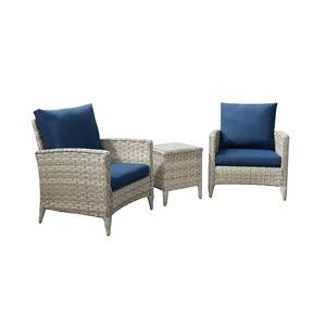 Ensemble de conversation pour patio Parksview de CorLiving, gris/bleu marin, 3 pièces
