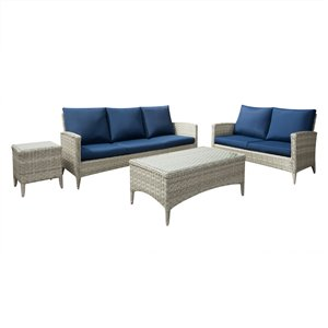 CorLiving Parksview Conversation Patio Set - Rattan Wicker - Grey/Navy Blue - 4-Piece