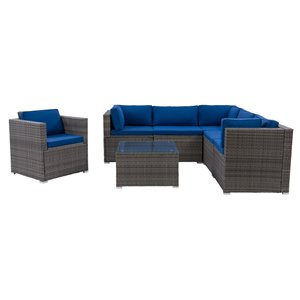 CorLiving Parksville Patio Sectional Set - Grey/Oxford Blue - 7-Piece