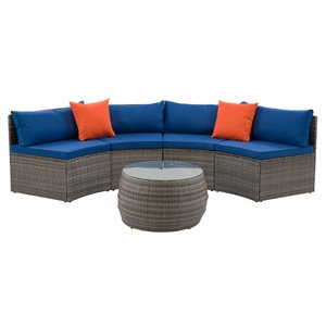 CorLiving Parksville Patio Sectional Set - Grey/Oxford Blue - 3-Piece