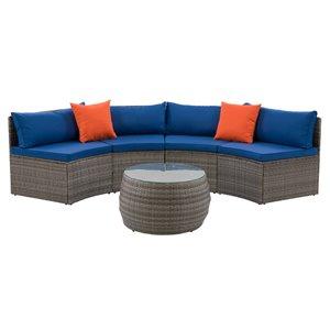 Ensemble de patio modulaire Parksville de CorLiving, gris/bleu, 3 pièces