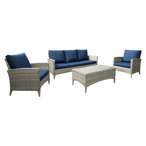 CorLiving Parksview Conversation Patio Set - Grey/Navy Blue - 4-Piece