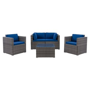 CorLiving Parksville Patio Sectional Set - Resin Wicker - Grey/Oxford Blue - 5-Piece