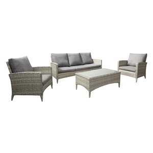 CorLiving Parksview Conversation Patio Set - Rattan Wicker - Grey - 4-Piece
