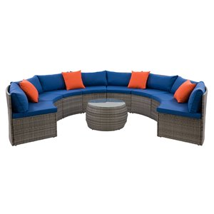 CorLiving Parksville Outdoor Patio Sectional Set - Grey/Oxford Blue - 5-Piece