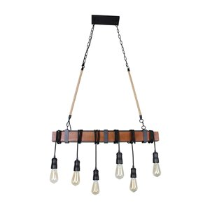 Beldi Woodland Collection 6-Light Pendant Light - Black and Wood