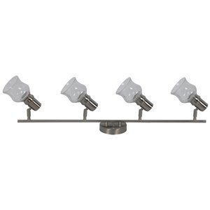 Rail d'éclairage Beldi à 4 lumières de la collection Vieste, nickel satiné, 6.18 po x 35.55 po
