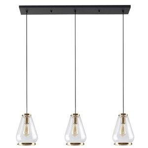 Luminaire suspendu Beldi à 3 lumières de la collection Hopewell, noir et or