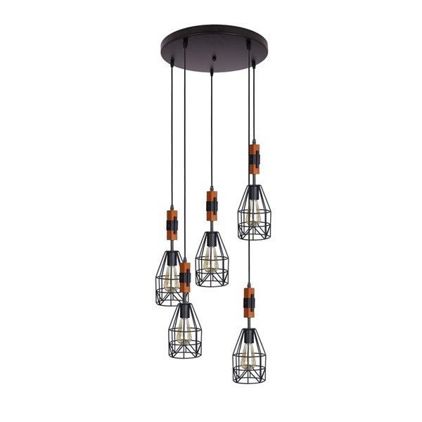Luminaire suspendu Beldi à 5 lumières de la collection Tralee, noir et bois