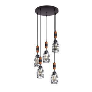 Beldi Tralee Collection 5-Light Pendant Light - Black and Wood
