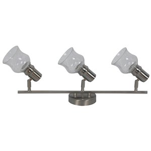 Rail d'éclairage Beldià 3 lumières de la collection Vieste, nickel satiné, 6.18 po x 26.49 po