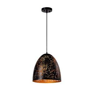 Luminaire suspendu Beldi à 1 lumière de la collection Dublin, format moyen, noir