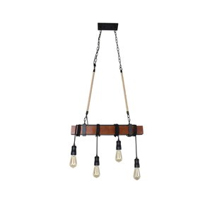 Beldi Woodland Collection 4-Light Pendant Light - Black and Wood