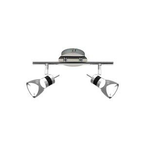 Rail d'éclairage DEL Beldi à 2 lumières, chrome brossé, 5.5 po x 11.8 po