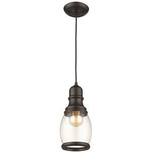 Luminaire suspendu Beldi à 1 lumière de la collection Vieste, noir