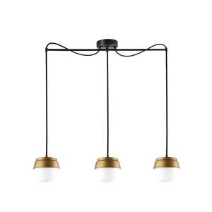 Luminaire suspendu Beldi à 3 lumières de la collection Canaries, noir et or