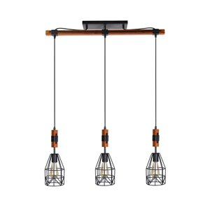 Beldi Tralee Collection 3-Light Pendant Light - Black and Wood