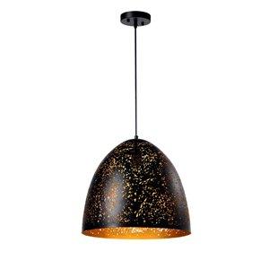 Luminaire suspendu Beldi à 1 lumière de la collection Dublin, grand format, noir