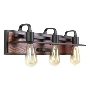 Beldi Negril Collection 3-Light Wall Light - Black and Wood - 5.5-in x 5.9-in x 21.2-in
