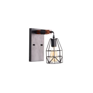 Beldi Tralee Collection 1-Light Wall Light - Black and Wood - 4.7-in x 9.8-in x 4.7-in