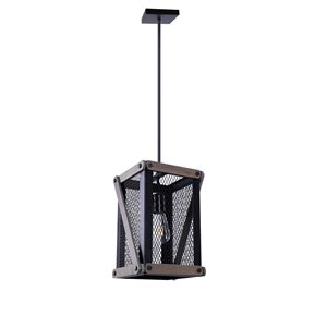 Beldi Wood Collection 1-Light Pendant Light - Black and Wood