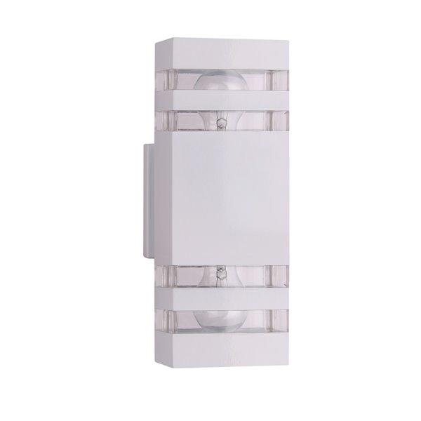 Luminaire mural extérieur à 2 lumières de la collection Arosa, blanc, 2 po x 5 po x 1.86 po