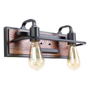 Beldi Negril Collection 2-Light Wall Light - Black and Wood - 5.5-in x 5.9-in x 15.7-in