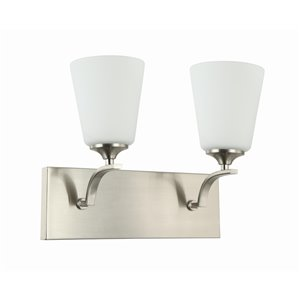 Beldi Seattle Collection 2-Light Wall Light - Satin Nickel - 7-in x 11-in x 14-in