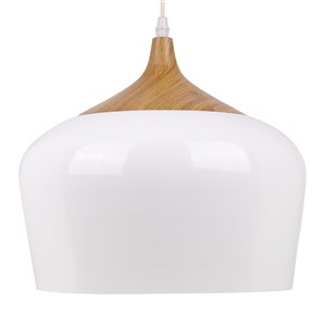 Beldi Urbania Collection 1-Light Pendant Light - White and Wood